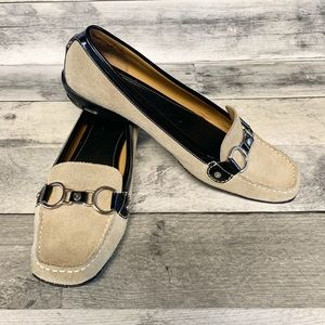 Cole Haan Suede Horse Bit Flat Loafers. Size 8.5